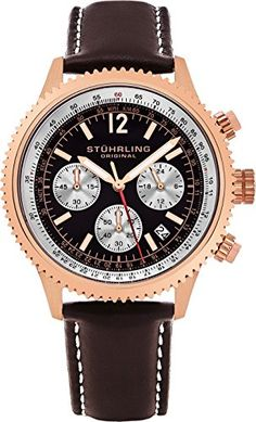 Stuhrling Original Men's Analog Monaco Quartz Chronograph Date Rose Gold Plated Brown Genuine Leather Strap Watch Casual Watches, Watches For Men, Black Leather Watch, Brown Band, Rose Gold Plates, Quartz Watch, Gold Watch, Chronograph, Plating