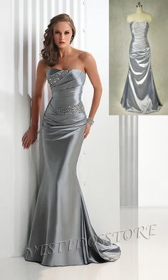 Elegante Strapless Sirena Plata Vestido Largo de Fiesta