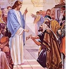 """January 20th - Mark 3:1-6: Jesus entered the synagogue. There was a man there who had a withered hand. They watched Jesus closely to see if he would cure him on the sabbath so that they might accuse him. He said to the man with the withered hand, """"Come up here before us."""" Then he said to the Pharisees, """"Is it lawful to do good on the sabbath rather than to do evil, to save life rather than to destroy it?"""""""