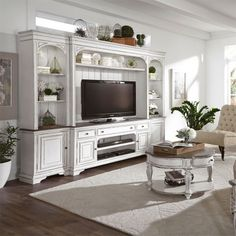 Magnolia Manor 4 Piece Entertainment Wall in Antique White Finish by Liberty Furniture - - Trend Home Entertainment 2020 Living Room Tv, Living Room Furniture, Modern Furniture, Classic Furniture, Rustic Furniture, Antique Furniture, Built In Shelves Living Room, Furniture Design, Furniture Dolly