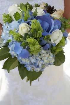 #Pastel blue wedding ... Blue Hydrangea wedding flowers www.blushrose.co.uk