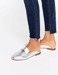 Image 1 of Faith Backless Silver Leather Loafers