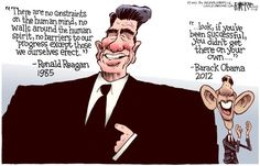Obama Is No Reagan | Cartoon by ©2012 Rick McKee, The Augusta Chronicle