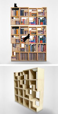 94 Amazing Bookshelf Design Ideas - Essential Furniture In Your Home Freestanding Double Sided Poplar Bookcase Manufacturer Creative Bookshelves, Modern Bookshelf, Bookshelf Styling, Bookshelf Design, Invisible Bookshelf, Tree Bookshelf, Bookshelf Ideas, Bibliotheque Design, Image Deco