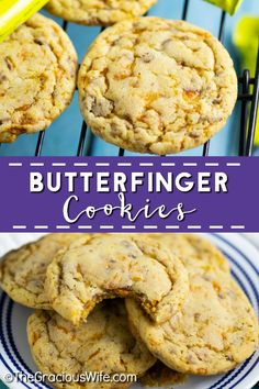 Chewy Butterfinger Cookies with crispy edges are packed with sticky, sweet Butterfinger pieces and chocolate and peanut butter flavor. Easy to make, perfect for using up leftover Halloween candy, and are beautiful for a Christmas cookie exchange.