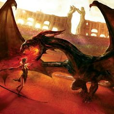 Dany and Drogon in the red sands of Daznak's pit