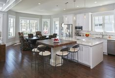 The beach house's large, open kitchen and dining space is perfect for beach weekends with lots of guests.