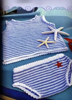 Camisetitas y bombachos para bebés para el verano (lomargo) 32znk3n Knitting For Kids, Baby Knitting, Crochet Baby, Crochet Top, Baby Sewing, Crochet Clothes, Baby Room, Free Pattern, Children