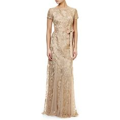 Adrianna Papell Metallic Embroidery Gown With Godets, Rose Gold - bit expensive but inspiration for bridesmaids Adrianna Papell, Lace Overlay, Grosgrain, Vintage Inspired, Style Me, Feminine, Rose Gold, Gowns, Embroidery