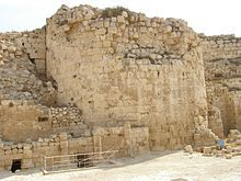 Hebrew University Professor Ehud Netzer reported on May 8, 2007 that he had discovered the tomb of Herod, above tunnels and water pools at a flattened site halfway up the hill to Herodium, 12 kilometres (7.5 mi) south of Jerusalem, at the precise location given by Josephus in his writings.[9] Later excavations strengthened the idea that this site is Herod's mausoleum.[10] The base of the tomb has now been uncovered and is visible to visitors to the site.