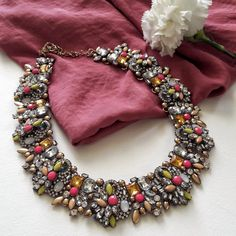 Necklaces, statementnecklace, pink, style, choker