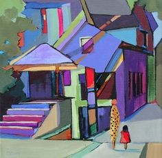 Daily Painting Walking through the Neighborhood abstract cityscape, painting by artist Carolee Clark