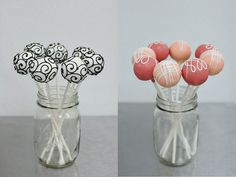 Cake pops, love these! Swirl, black and white, mixed pinks.