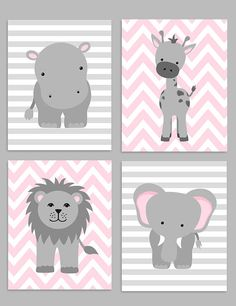 Zoo Nursery Decor - Giraffe, Elephant, Hippo - Grey and Pink - Jungle Nursery This is a set of the FOUR prints shown above. The price includes all four prints. Prints are freshly printed to order on 69 lb commercial grade luster paper using premium archival inks for vibrant color