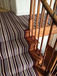 Stripy carpets for stairs and landing. ♥ Loved and pinned by oxy-dry.ca