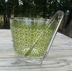 Item 98 Vintage Glass Ice Bucket with Green by VintageWeddingGifts, $12.00