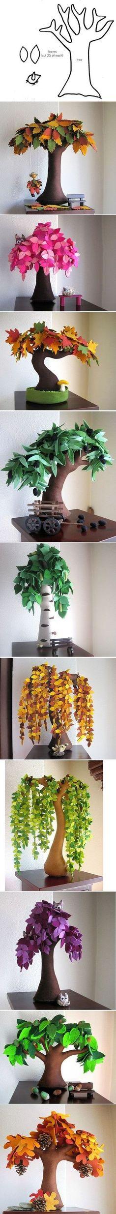 Plantilla e ideas para hacer árboles de fieltro                              …                                                                                                                                                                                 Más