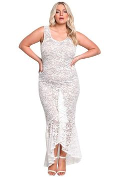 45e79c7a6a1 Her BIG n MOD White Plus Size Floral Lace Ruffle Mermaid Maxi Gown