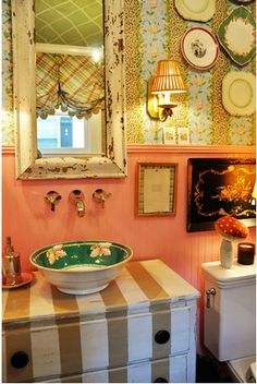 Powder room by amber mackay1 on pinterest soap dispenser for Pink and green bathroom ideas