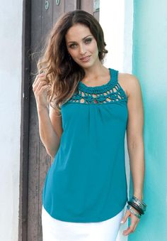 An airy macramé yoke joins a cool tank with soft shirring front and back.     By Jessica London    #jessicalondon #jessica #london #fashion #summer #style #trend #blue #bright #crochet #cotton