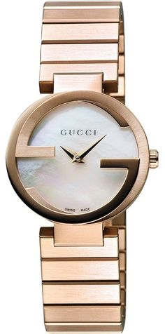 5dbe90fa15a YA133515 Buy this New  amp  Authentic Gucci Interlocking White Pearl Dial  Pink Gold PVD Women