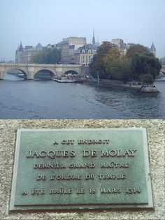 Knights Templar:  Plaque commemorating Jacques De Molay, the last Grand Master of the #Knights #Templar.