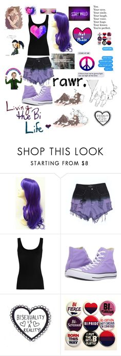 """""""• Bisexuality is not a phase • 💖💜💙"""" by redrose9 ❤ liked on Polyvore featuring Evil Twin, Twenty, Converse and Humör"""