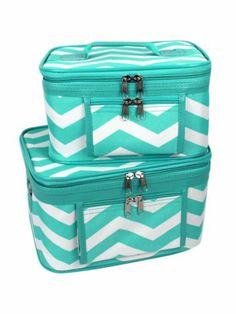 $15.50 2 Piece Light Blue and White Chevron Cosmetic Case Set