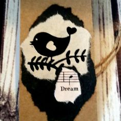 Dream Big! Black and white birds from Nepal with vintage sheet music.