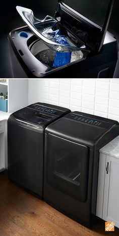 New Samsung Activewash Washer with Integrated Touch Controls has a built-in sink, which lets you pre-treat and pre-soak your clothes with ease. The new integrated touch control panel eliminates the traditional rear panel for a modern look. Future House, Black Stainless Steel, First Home, My New Room, My Dream Home, Home And Living, Home Projects, House Plans, Home Improvement