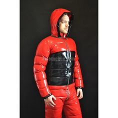 Winter warm latex jacket with detachable hood - LatexVogue