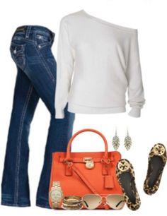 09a7357b2 Ivory   White Sweater • Jeans • Orange Michael Kors Purse • Leopard Tory  Burch Flats