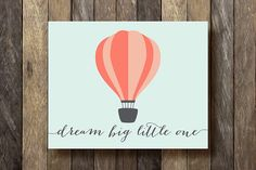 This 8x10 hot air balloon printable with pretty typography, done in shades of coral/pink, makes a charming addition to nursery and childs room