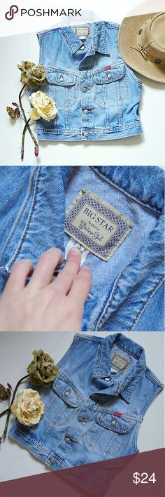 """Vintage Big Star Western Denim Crop Vest Jacket Adorable vintage Big Star denim vest. Cropped fit, great condition for its age, no flaws/damage.  Size S.  Measures 18"""" across the bust and 18"""" in length Big Star Jackets & Coats Jean Jackets"""