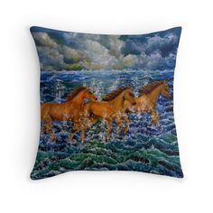 Throw Pillow,  home,accessories,sofa,couch,decor,cool,beautiful,fancy,unique,trendy,artistic,awesome,fahionable,unusual,gifts,presents,for sale,design,ideas,items,products,blue,horses,wild,animals,wildlife,nature,sea,waves,equine,redbubble