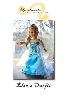 "Pattern Disney's Frozen Elsa's Dress Outfit for 18"" American Girl Lumi 