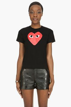 Comme Des Garçons Play Black Red Emblem T-shirt for women | SSENSE