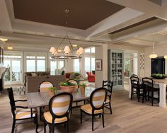 Love this open space with the dark ceiling and open windows. Spaces Painted Ceiling Design, Pictures, Remodel, Decor and Ideas - page 18