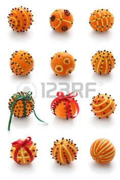 Picture of Spiced orange pomander balls, scented christmas decoration stock photo, images and stock photography. Noel Christmas, Winter Christmas, Christmas Ornaments, Christmas Oranges, Christmas Tables, Modern Christmas, Scandinavian Christmas, Navidad Diy, Theme Noel