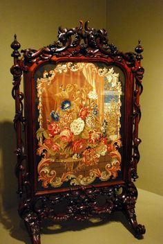antique fire screen | Ornately carved antique fire screen