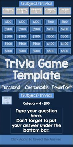 """A fully functional trivia game template for PowerPoint on PC in the style of """"Jeopardy"""".  Can also use with interactive whiteboards that support PowerPoint!  There is a version for classroom use, as well as a version for commercial use. Create a game to help your students review ANY topic for nearly ANY level. Enjoy! Kristin Lee Resources"""