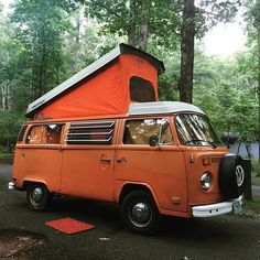 Liked on InstaGram: Here I am, all orange and popped up, and lookin good!! #ottercreekcampground #vanlife #VW #vwbus #blueridgeparkway #orange #camping