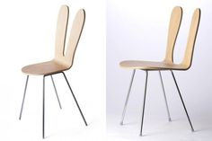 """these two chair designs by SANAA, one of which was intended for the Japanese market and the other for American consumers. It shouldn't be difficult to guess which is which!...the proportions of the original being stretched horizontally to accommodate the American """"other""""."""
