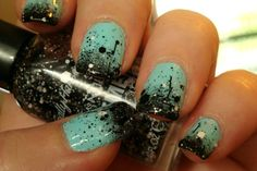 """Sally Hansen """"Pixel Perfect"""" over sky blue and sponged black polish.."""