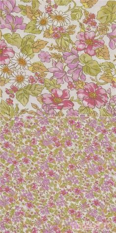"""light cotton lawn fabric in white, with English-style floral print in purple, pink, white and green, Material: smooth, soft lawn cotton fabric, Fabric Width: 108cm (42.3"""") #Cotton #Lawn #Flower #Leaf #Plants #USAFabrics"""