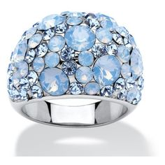 Blue Crystal Ring MADE WITH SWAROVSKI ELEMENTS (23.010 CRC) ❤ liked on Polyvore featuring jewelry, rings, blue, jewelry & watches, crystal rings, blue jewelry, crystal cocktail ring, crystal jewellery and cocktail ring