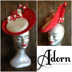 Red and White by MELISSA BARNES  #HatAcademy #millinery