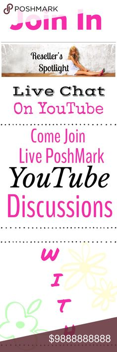 "Live Chat on YouTube 4-9-17 COME MEET US!  @stefz02 & @sweetbee17 on YouTube 4-9-19 🦋 We will be Doing Live PoshMark Chats! Whether you are a Newbie or a Oldie 💕 Come See What We Have Lined Up Every Sunday Evening @ 9:PM EST, Right Before The PoshMark Party Starts 🙌🏻 We Will Have ""Live Q & A's""  Great Topics! Plenty of Laughs & Getting To Know Each Other 😀 Make Sure To Drop Your Closet Names In The Live Chats. So, Everyone Can Go Check Out Your Closets Too❤️ YouTube Live Chat Other"