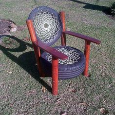 Recycled Tyre Chair   Rocky Road Backpackers   South Africa