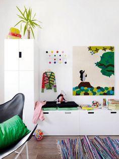 IKEA white storage STUVA system in children room